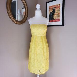 Shoshanna Yellow Eyelet Strapless Dress Size 0